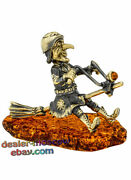 Brass Amber Humor Figurine Russian Fairy Tales Witch Baba Yaga On Motorcycle