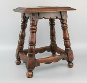 Antique 19th Century English Oak Joint Stool Beverage Table