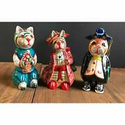 Vintage Russian Lacquer Hand Painted Wood Clothed Cat Color Ornaments Figurine