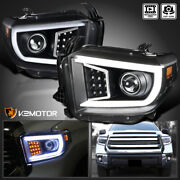 Black For 2014-2021 Toyota Tundra Led Strip Bar Tube Projector Headlights Lamps