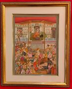 Hand Painted Mughal Court Scene Darbar Miniature Painting India Artwork Framed