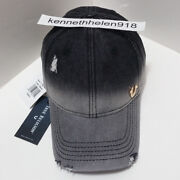 True Religion Mens Bleached Denim Baseball Cap Hat Black One Size Adjustable
