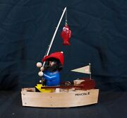 Steinbach Fisherman In Boat S767 Forward Motion Smoker Musical New In Box