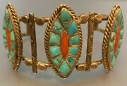 Early Best Zuni Carved Natural Turquoise Coral Bracelet Hand Constructed Stamped