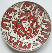Vintage Decorative Wall Plate Continental Hand Painted 6.5dia Artisan Red Black