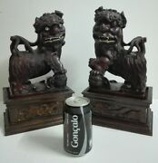 Antique Chinese 19th Century Large Foo Dogs Pair Exotic Carved Wood Sculptures