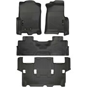 Set-h2118371-4 Husky Liners Floor Mats Set Of 4 Front New Black For Expedition