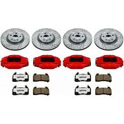 Kc5363-26 Powerstop 4-wheel Set Brake Disc And Caliper Kits Front And Rear For Vw
