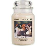 Village Candle Coconut Vanilla Large 26 Oz. Double Wick 2 Wick New