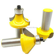3 Bits 45° Chamfer Bevel Edging Router Bit Cove Molding Round Over Router Bits