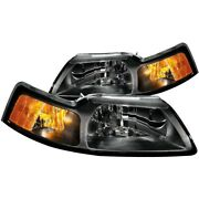 121040 Anzo Headlight Lamp Driver And Passenger Side New Lh Rh For Ford Mustang