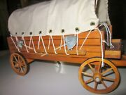 1- Wood Vintage Covered Wagon Wood Horse Cart