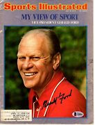 President Gerald Ford Signed Sports Illustrated Magazine Beckett Bas A58801