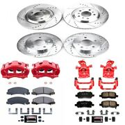 Kc5514 Powerstop Brake Disc And Caliper Kits 4-wheel Set Front And Rear New