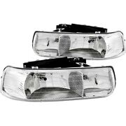 111011 Anzo Headlight Lamp Driver And Passenger Side New For Chevy Suburban Lh Rh