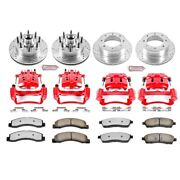 Kc1393-36 Powerstop 4-wheel Set Brake Disc And Caliper Kits Front And Rear