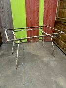 Original Art Deco Modernist Outdoor/indoor Iron Table Frame With Well-worn Patin