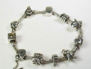 Pandora Bracelet Size 8.1/2 In 100 Original 20 Charms And Safety Chain Ale 925