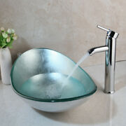 Us Modern Chrome Tempered Glass Vessel Sink And Waterfall Faucet Combo Set