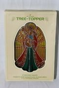 Vtg 1979 Hallmark Angel Chistmas Tree Topper Acrylic Stained Glass Style In Box