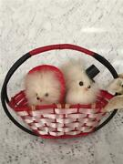 2 Tiny Rabbit Fur Animals Dogs In Red And White Plastic Basket Bonnet Top Hat