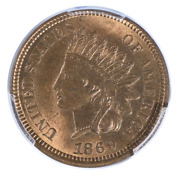 1869 Indian Head Cent Pcgs Ms65rb Cac
