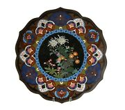 Antique Japanese Cloisonne Charger Scalloped Rim 14 Inches
