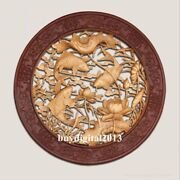 Basswood Auspicious Lotus Flower Carp Fish Wall Hanging Wood Tablet Plaque Board