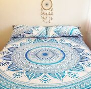 King Or California King Hippie Bohemian Mandala Bedspread With Two Pillow Cover