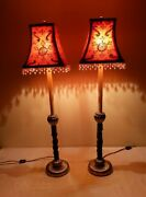 Raymond Waites For Tyndale Frederick Cooper Buffet Candlestick Lamps A Pair