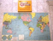 Vintage Us Finishing And Mfg 1940s 100 Piece World Map Jigsaw Puzzle Nice Complete