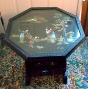Rare Antique Vtg Chinese Lacquer Tilt Table Mother Of Pearl Landscape Geisha