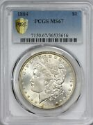 1884 Morgan Silver Dollar Pcgs Ms67 - Superb Gem And Very Scarce - Secure Holder
