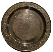 """Towle Contessina E.p. Silverplate Silver Plate Tray Repousse Vintage 15"""" 40s"""