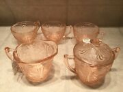 Vtg Depression Ware Glass Cherry Blossom Pink Lid Sugar Bowl, Creamer And 3 Cups