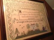 Cross Stitch Framed And Completed Reproduction Sampler Dated 1989 Large Size