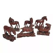 Antique Set 6 Boxwood Mu Wang Chinese Hand Carved Wooden Small Horses Glass Eyes