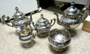 Antique Lovely-reed And Barton Flora Sterling -5 Piece-tea Set- Pre-1950and039s 125ozs