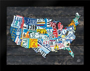 Framed Art - Usa License Plate Map - Hallowell Britt - W/frame Size And Styles