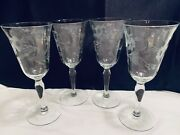 """4 Vintage Etched Cordial Claret Wine Glasses Salina Susquehanna Glass 6"""" Tall"""
