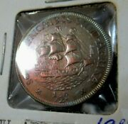1938 South Africa Unc. Coin Half Penny Toned Shipping In Ocean At Sunrise