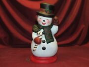 Ceramic Bisque Happy Snowman With Base Hand Painted Finished Ready To Display