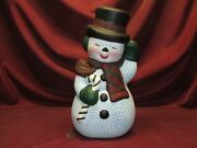 Ceramic Bisque Happy Snowman Hand Painted Finished Ready To Display