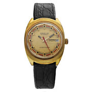 Vintage Lucien Piccard Circa 101 Day/date Leather Swiss Automatic Wrist Watch