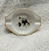 Small White Ash Tray With Violet Design Stamped Bavaria Germany 56