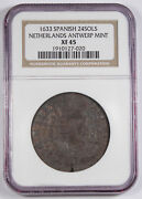 Spanish Netherlands 1633 24 Sols Silver Coin Ngc Xf45 Km46.4 Madrid Antwerp Mint