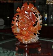 Chinese Exquisite Natural Agate Hand-carved Lotus Flower Mandarin Duck Statue