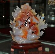 Rare Chinese Exquisite Natural Agate Hand-carved Lotus Root Mandarin Duck Statue