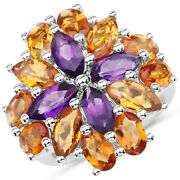 925 Sterling Silver Genuine Amethyst And Citrine Ring 7.96 Carat Multiple Sizes