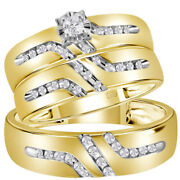 Saris And Things 10kt Yellow Gold His Hers Round Diamond Solitaire Matching Wedd